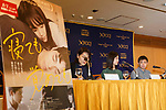 Actress Erika Karata (C) and director Ryusuke Hamaguchi (C-R), speak during a Q&A for the film ASAKO I & II (Netemo sametemo) at the Foreign Correspondents' Club of Japan on August 29, 2018, Tokyo, Japan. The Japanese romantic drama was selected to compete for the Palme d'Or this year at the Cannes Film Festival. The film will be released in Japan on September 1. (Photo by Rodrigo Reyes Marin/AFLO)