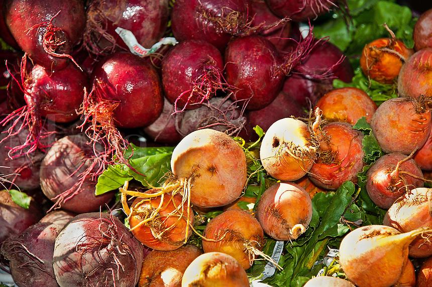 Fresh vegetables at a farmers market.