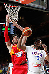 Spain´s Pau Gasol (L) and France´s Diaw during FIBA Basketball World Cup Spain 2014 match between Spain and France at `Palacio de los deportes´ stadium in Madrid, Spain. September 10, 2014. (Victor Blanco)