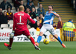 Motherwell v St Johnstone&hellip;13.08.16..  Fir Park<br />Chris Kane puts his shot wide of the post<br />Picture by Graeme Hart.<br />Copyright Perthshire Picture Agency<br />Tel: 01738 623350  Mobile: 07990 594431