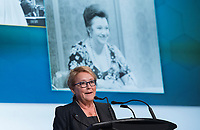 Former Quebec Premier Pauline Marois speaks during a memorial service for Lise Payette in Montreal, Saturday, October 20, 2018. THE CANADIAN PRESS/Graham Hughes