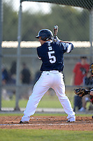UW-Stout Blue Devils Charlie Meyer (5) during the first game of a doubleheader against the Edgewood Eagles on March 16, 2015 at Lee County Player Development Complex in Fort Myers, Florida.  UW-Stout defeated Edgewood 6-1.  (Mike Janes/Four Seam Images)
