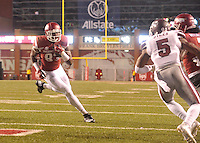 NWA Democrat-Gazette/MICHAEL WOODS • University of Arkansas tight end Jeremy Sprinkle scores a touchdown in the 2nd quarter of Saturday nights game at Razorback Stadium November 21, 2015.