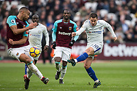Eden Hazard of Chelsea hits a shot at goal during the Premier League match between West Ham United and Chelsea at the Olympic Park, London, England on 9 December 2017. Photo by Andy Rowland.
