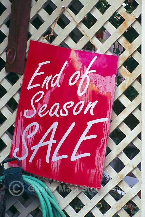 End of Season Sale Sign on Shop