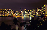 Honolulu skyline at night, Hawaii, USA, August 1996