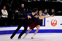 Thursday, March 31, 2016: Gabriella Papadakis and Guillaume Cizeron (FRA) compete in the Free Dance program at the International Skating Union World Championship held at TD Garden, in Boston, Massachusetts. Papadakis and Cizeron scored 118.17 which is a new ISU world record and won the Gold Medal for Ice Dance. Eric Canha/CSM