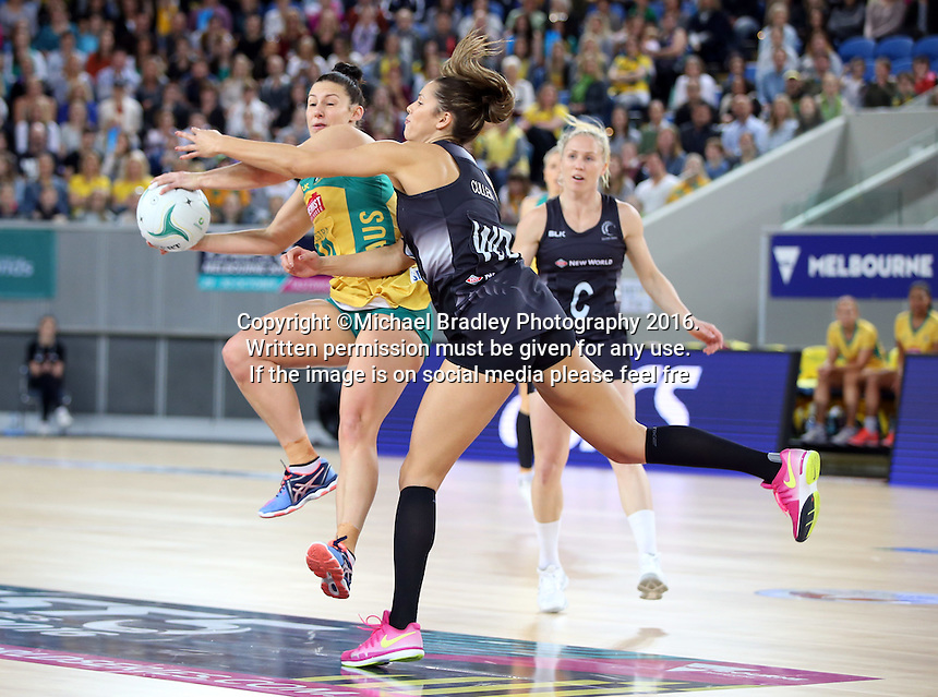 04.09.2016 Silver Ferns Kayla Cullen and Australia's Madi Robinson in action during the Netball Quad Series match between the Silver Ferns and Australia played at Margaret Court Arena in Melbourne. Mandatory Photo Credit ©Michael Bradley.