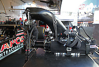 Feb. 14, 2013; Pomona, CA, USA; Detailed view of the blower and injector for the car of NHRA top fuel dragster driver Steve Torrence during qualifying for the Winternationals at Auto Club Raceway at Pomona.. Mandatory Credit: Mark J. Rebilas-