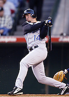 Mark Quinn of the Kansas City Royals bats during a 2002 MLB season game against the Los Angeles Angels at Angel Stadium, in Anaheim, California. (Larry Goren/Four Seam Images)