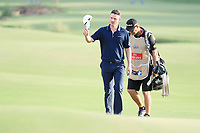 Justin Rose (ENG) on the 18th during the final round of the DP World Tour Championship, Jumeirah Golf Estates, Dubai, United Arab Emirates. 19/11/2017<br /> Picture: Golffile | Fran Caffrey<br /> <br /> <br /> All photo usage must carry mandatory copyright credit (© Golffile | Fran Caffrey)