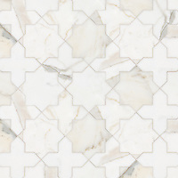 Issac, a stone waterjet mosaic, show in polished Calacatta Gold.