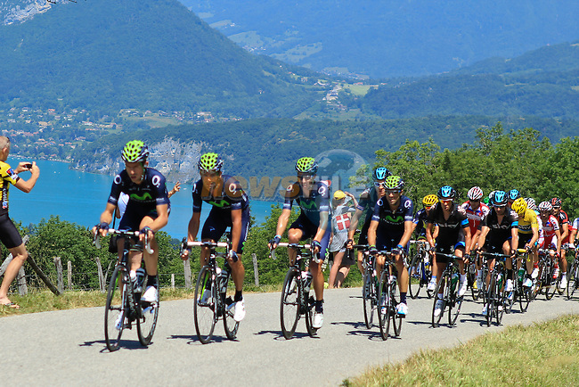 The peloton led by Movistar Team and Sky Procycling tackle the Cote du Pugot during Stage 20 of the 100th Edition of the 2013 Tour de France from Annecy to Annecy Semnoz. 20th July 2013.<br /> (Photo:Thomas van Bracht/Peloton Photos/www.newsfile.ie)