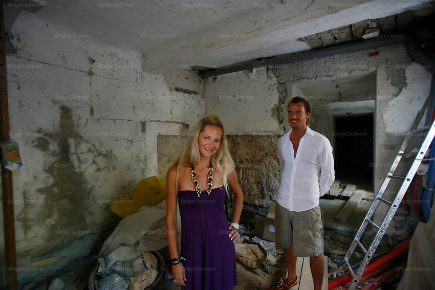 Rune Andersen and Cecile Ruppman pose in vaulted rooms, as yet unfinished, leading north from Chateau Robernier's entrance hall..Chateau Robernier located near Montfort, in the Var, closeby to Provence in southern France. The Chateau dates back to the 16th century with parts added in the 18th and 19th centuries. There is a vineyard attached with 80 hectares of land producing 200,000 bottles of wine per annum. The Chateau, bought in 2007, has been recently renovated by the new owners Mr Rune Andersen, aged 35, owner of several investment companies, including Scan-Tec, and his fiancée Miss Cecile Ruppmann who is Swiss German, aged 29. They both are resident in Monaco.