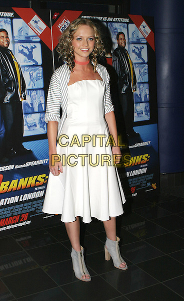 HANNAH SPEARRITT.Agent Cody Banks 2 premiere.24 March 2004.full length black white striped stripes jacket pink choker ankle boots Spearitt Spearrit.Ref: AH.© Adam Houghton/Capital Pictures.