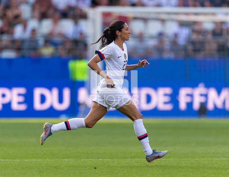REIMS,  - JUNE 24: Christen Press #23 takes the field during a game between NT v Spain and  at Stade Auguste Delaune on June 24, 2019 in Reims, France.