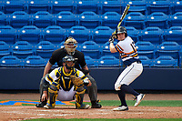 Canisius College Golden Griffins first baseman Ryan Stekl (15) at bat in front of catcher Harrison Wenson (7) and umpire Robert Lothian during the first game of a doubleheader against the Michigan Wolverines on February 20, 2016 at Tradition Field in St. Lucie, Florida.  Michigan defeated Canisius 6-2.  (Mike Janes/Four Seam Images)