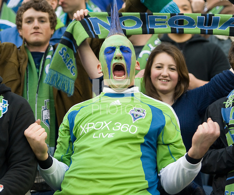 Mohawk fan during a 3-0 Seattle Sounders victory over the New Your Red Bulls, Thursday, March 19, 2009.