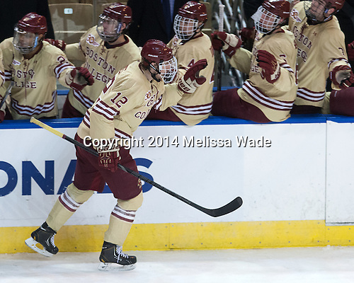 Kevin Hayes (BC - 12) - The Boston College Eagles defeated the University of Massachusetts Lowell River Hawks 4-3 in the NCAA Northeast Regional final on Sunday, March 30, 2014, at the DCU Center in Worcester, Massachusetts.