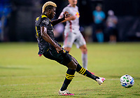 16th July 2020, Orlando, Florida, USA;  Columbus Crew forward Gyasi Zerdes (11) shoots and scores the first goal of the game during the MLS Is Back Tournament between the Columbus Crew SC versus New York Red Bulls on July 16, 2020 at the ESPN Wide World of Sports, Orlando FL.