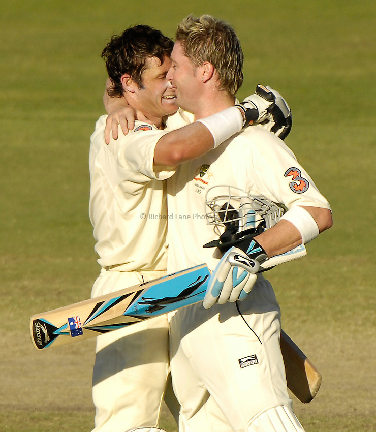 Photo: Steve Holland..3 mobile Test Series, The Ashes 2006/07, 2nd Test. 05/12/2006..Australia's Michael Clarke and Michael Hussey celebrate.