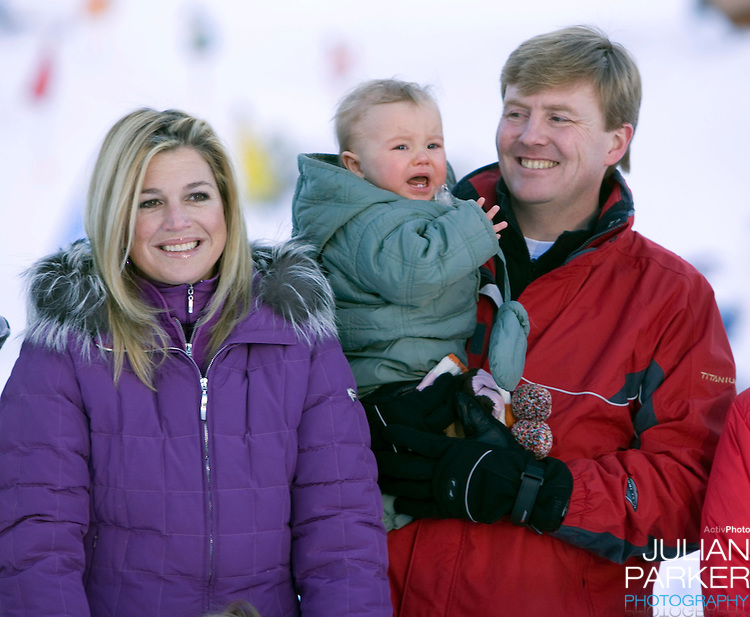 Crown Prince Willem Alexander, and Crown Princess Maxima of Holland with Daughter Princess Ariane attend a Photocall during their Winter Ski Holiday in Lech Austria
