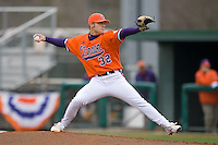 Starting pitcher Trey Delk #32 of the Clemson Tigers in action versus the Wake Forest Demon Deacons at Doug Kingsmore stadium March 13, 2009 in Clemson, SC. (Photo by Brian Westerholt / Four Seam Images)