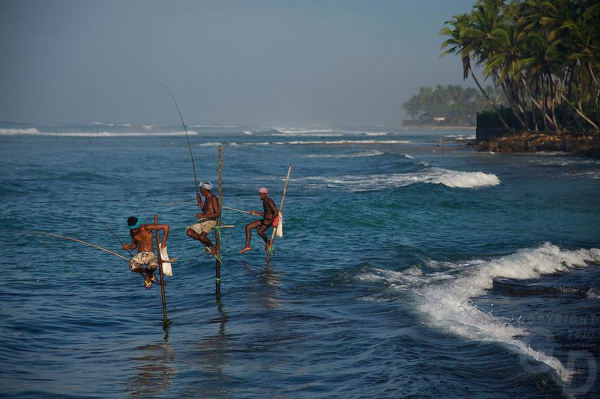 Traditional Still fishing Weligama, Sri Lanka