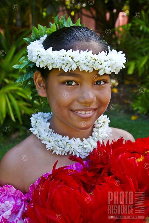 Pretty Hawaiian girl dancer, Oahu, Hawaii