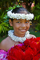 Pretty Hawaiian girl dancer, Oahu, Hawaii