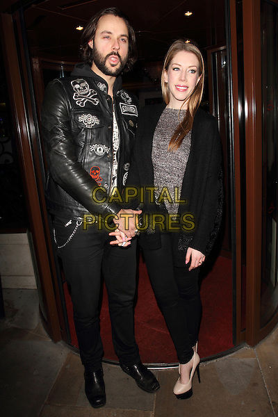 LONDON, UNITED KINGDOM - FEBRUARY 25: Jeff Leach and Katherine Ryan attends the launch of 'Total Mink'. a new brand of ethically produced mink eyelashes at The Sanctum Soho Hotel on February 25, 2014 in London, England<br /> CAP/ROS<br /> &copy;Steve Ross/Capital Pictures