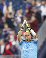 New England Revolution goalkeeper Matt Reis (1) thanks the fans at end of last regular season home game. In a Major League Soccer (MLS) match, the New England Revolution (blue) defeated Columbus Crew (white), 3-2, at Gillette Stadium on October 19, 2013.