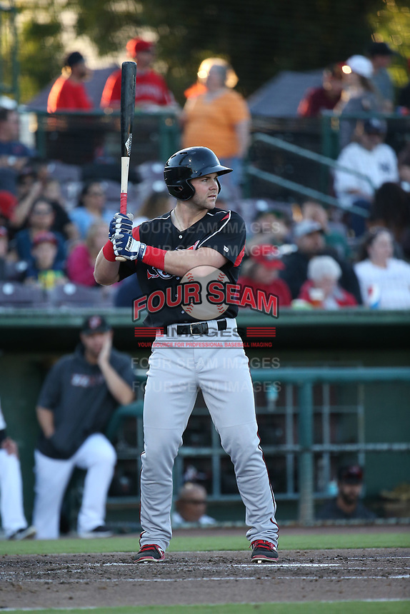 Michael Gettys (28) of the Lake Elsinore Storm bats against the Inland Empire 66ers at San Manuel Stadium on April 29, 2017 in San Bernardino, California. Inland Empire defeated Lake Elsinore, 3-1. (Larry Goren/Four Seam Images)