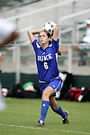 Kelly Hathorn, of Duke, takes a throw-in on Sunday October 2nd, 2005 at SAS Stadium in Cary, North Carolina. The Duke University Blue Devils defeated the North Carolina State University Wolfpack 1-0 during an Atlantic Coast Conference women's soccer game.