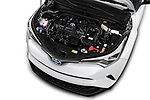 Car stock 2018 Toyota C-HR C-LUB hybrid 5 Door SUV engine high angle detail view