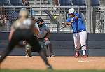 Western Nevada College Wildcats' Briauna Carter hits in a preseason softball game against Shasta College in Reno, Nev., on Saturday, Sept. 20, 2014.<br /> Photo by Cathleen Allison
