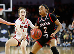 SIOUX FALLS, SD - MARCH 7: Rayanna Carter #2 of the Omaha Mavericks drives past Claudia Kunzer #1 of the South Dakota Coyotes at the 2020 Summit League Basketball Championship in Sioux Falls, SD. (Photo by Richard Carlson/Inertia)