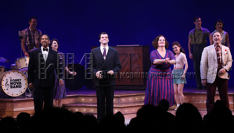 Cast during the Broadway Opening Night Curtain Call Bows of 'Bandstand' at the Bernard B. Jacobs Theatre on 4/26/2017 in New York City.