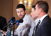 New York Mets starting pitcher Jacob deGrom (48) at a press conference on his new five-year contract extension at the Ritz-Carlton Hotel in Arlington, Virginia on Wednesday, March 27, 2019. According to reports, the contract duration is five years, with a sixth-year team option and, if completed, will be with $170 million. It includes a full no-trade clause and an opt-out after the 2022 season.<br /> Credit: Ron Sachs / CNP<br /> (RESTRICTION: NO New York or New Jersey Newspapers or newspapers within a 75 mile radius of New York City)