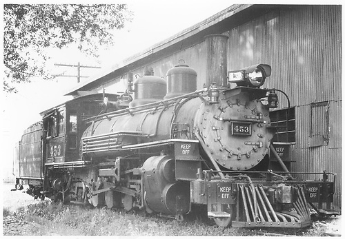 3/4 engineer's-side view of D&amp;RGW #453 beside Montrose engine house.<br /> D&amp;RGW  Montrose, CO  Taken by Thode, Jackson C.