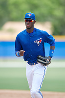 GCL Blue Jays center fielder Aldo Ovando (71) jogs back to the dugout during a game against the GCL Pirates on July 20, 2017 at Bobby Mattick Training Center at Englebert Complex in Dunedin, Florida.  GCL Pirates defeated the GCL Blue Jays 11-6 in eleven innings.  (Mike Janes/Four Seam Images)
