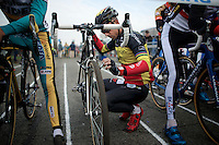 Sven Nys (BEL/Crelan-AAdrinks) does a last bike check/stretch before the race<br /> <br /> Koksijde CX World Cup 2014