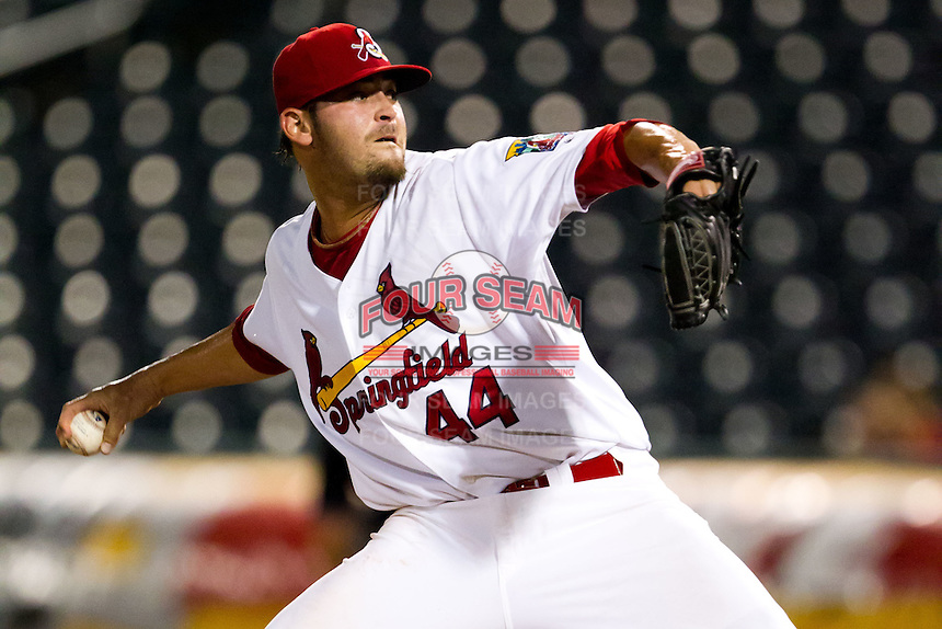 David Kopp (44) of the Springfield Cardinals delivers a pitch during a game against the Midland RockHounds at Hammons Field on July 11, 2011 in Springfield, Missouri. (David Welker / Four Seam Images)