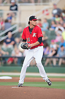 Kannapolis Intimidators starting pitcher Spencer Adams (12) in action against the Lakewood BlueClaws at CMC-Northeast Stadium on May 16, 2015 in Kannapolis, North Carolina.  The BlueClaws defeated the Intimidators 9-7.  (Brian Westerholt/Four Seam Images)