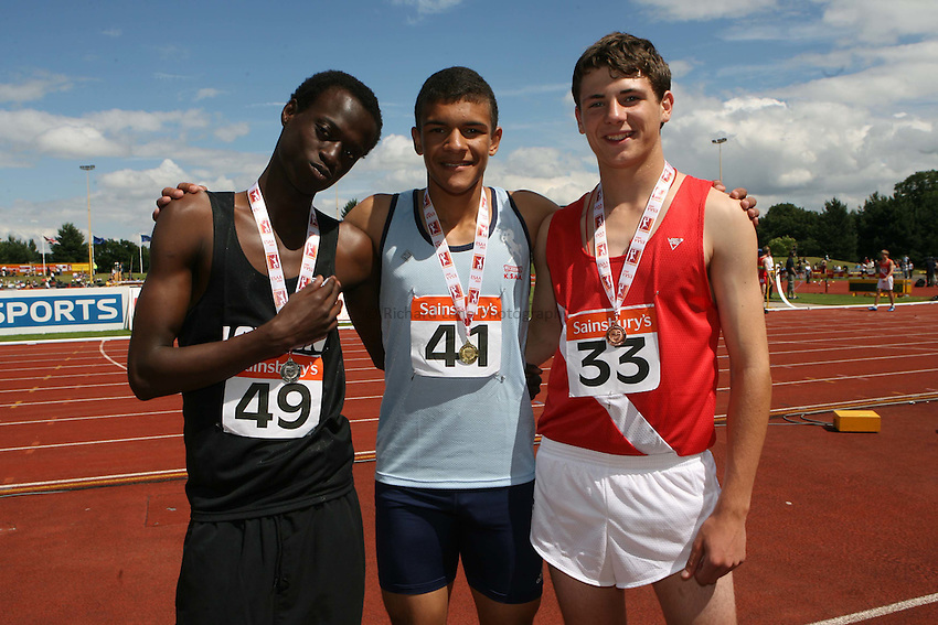Photo: Rich Eaton/Sportsbeat Images.....Sainsbury's English Schools Track and Field Championships, Birmingham. 14/07/2007. Junior boys 400m winners l-r silver Sunny Adebanji of London, gold Thomas Bensted of Kent and bronze Soren Little of Hampshire