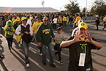 01/10/11-- Duck fans walk towards the entrance of the University of Phoenix Stadium before the BCS National Championship..Photo by Jaime Valdez...