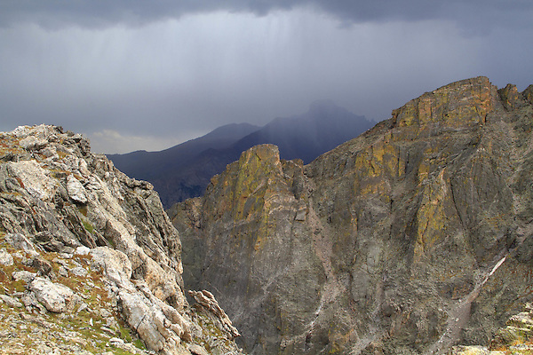 Longs Peak (14,255 feet) and Hallett Peak during a thunderstorm from Flattop Mountain Trail in Rocky Mountain National Park, west of Estes Park, Colorado.