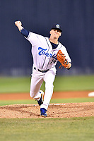 Asheville Tourists starting pitcher Ryan Feltner (14) delivers a pitch during game two of a double header against the Charleston RiverDogs at McCormick Field on April 9, 2019 in Asheville, North Carolina. The Tourists defeated the RiverDogs 8-3. (Tony Farlow/Four Seam Images)