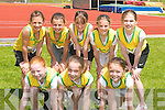 JUVENILE: The young Gneeveguilla Athletics who ran in the 100yard dash at the Athletic Association of Ireland Munster Juvenile Championships at Riocht Track, Castleisland on Saturday, Front l-r: Sinead Horgan, Siobhan Fitzgerald and Betrice Casey. Back l-r: Louise Dineen, Danielle O'Connor, Caroline Dineen, Evie Casey and Louise Fitzgerald..