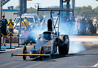 Oct 19, 2019; Ennis, TX, USA; NHRA top alcohol dragster driver Monroe Guest during qualifying for the Fall Nationals at the Texas Motorplex. Mandatory Credit: Mark J. Rebilas-USA TODAY Sports